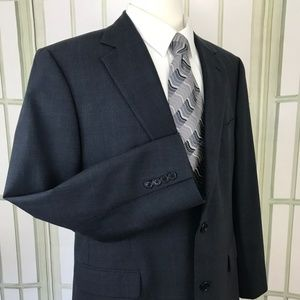 Brooks Brothers 346 Stretch 2Button Blue Plaid 43R